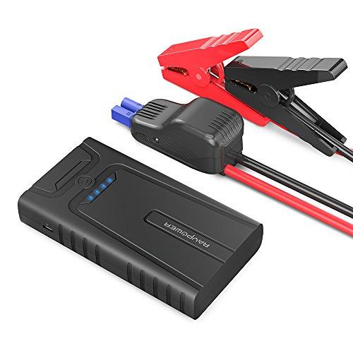 RAVPower 400A Avviatore per Auto 10000mAh Booster Emergenza con Dispositivo di Protezione Intelligente per Motori a Benzina Fino a 3L, Caricabatteria con Ingresso Micro-USB, Potenza 2.4A
