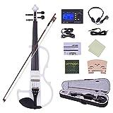 ammoon Violon Full Size 4/4 Solid Wood Électrique Silencieux Violon Fiddle...
