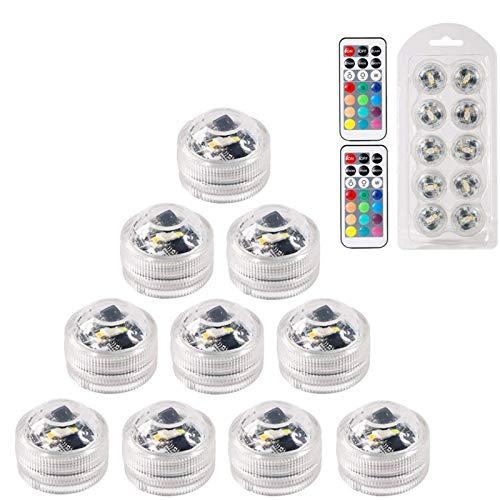 MAVIE Mini LED lampadine, 10 Pz Impermeabilizzano le Candele a Fiamma Senza Fiamma Luci Subacquee LED a RGB Illuminazione Subacquea con Telecomando per Vaso, Feste, Vasca Idromassaggio, Matrimoni, Pis