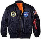 Alpha Industries Big Boys' Nasa MA-1 Bomber Jacket, Replica Blue, Large/14/16