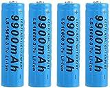 4PCS Bleu 18650 Batterie,Batteries 9900mAh 3.7V,Batterie Lithium-ION...