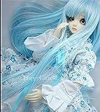 Tita-Doremi BJD Poupée Perruque Ball-jointed Doll 1/3 8-9 Inch 22-24cm Dollfie Pullip SD DOD DD Blue White Long Toy Head Perruque Cheveux (Perruque Seulement,pas une poupée )