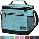 OPUX Insulated Large Lunch Bag, Men Women   Meal Prep Lunch Box for Adult, Kids   Soft Leakproof Lunch Pail Cooler Bag with Shoulder Strap for Work, School, Beach   Fits 18 Cans (Turquoise)