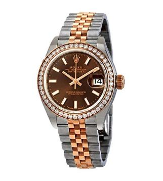 Rolex Lady Datejust Chocolate Dial Automatic Ladies Steel and 18K Everose Gold Jubilee Watch 279381CHSJ