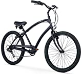 Firmstrong Men's CA-520 Alloy 7-Speed Beach Cruiser Bicycle, 26-Inch, Matte Black