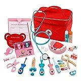 Wghz Kit médico para niños Kit médico con Estetoscopio electrónico Bolsa de Tela de simulación de Madera para niños Caja de Medicina Juguete médico de simulación Regalo para niños niñas pequeñas