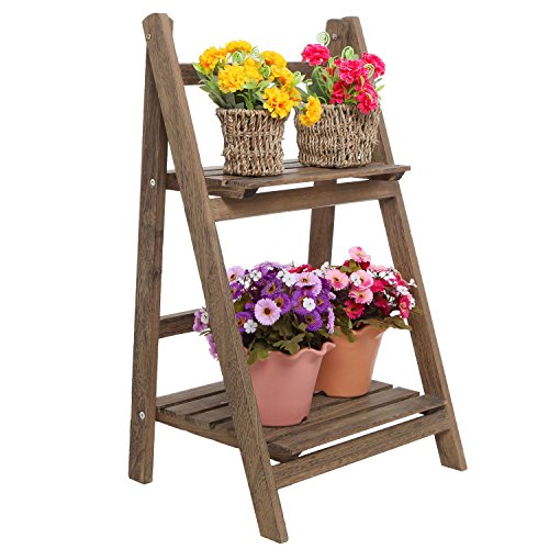 3. Rustic Brown Wood Design 2 Tier Freestanding Foldable Shelf Rack