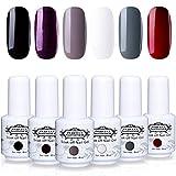 Perfect Summer Nail Gel Polish - 6PCS Classic Color Red Glitter Purple White Black Grey Gel Varnish Soak Off Gel Polish UV LED Manicure Nail Starter Kit Gift Set 8ML 022