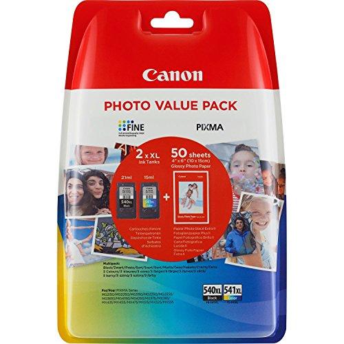Canon PG-540XL/CL-541XL Cartuccia Originale Getto d'Inchiostro a Resa Elevata, 2 Pezzi, Nero/Colore...