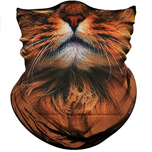Obacle Animal Half Face Mask Sun Dust Wind Protection Breathable Seamless Face Mask for Men Women Thin Neck Gaiter for Outdoor Sports Gifts (Cute Cat Brown)