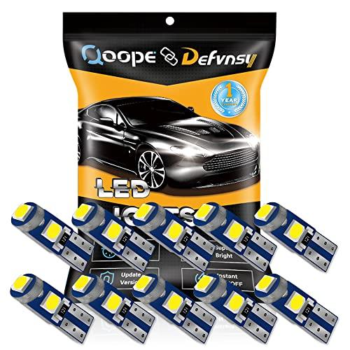 DEFVNSY - Confezione da 10 LED Bianco T5 W3W W1.2 W 73 74 286 17 18 27 37 70 79 85 86 2721 Luminoso 3-3030 LED Cruscotto auto cruscotto cruscotto cruscotto lampadine 12 V