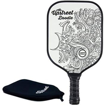 Upstreet Graphite Pickleball Paddle - Polypro Honeycomb Composite Core - Paddles Include Racket Cover (White with Black Drawings)