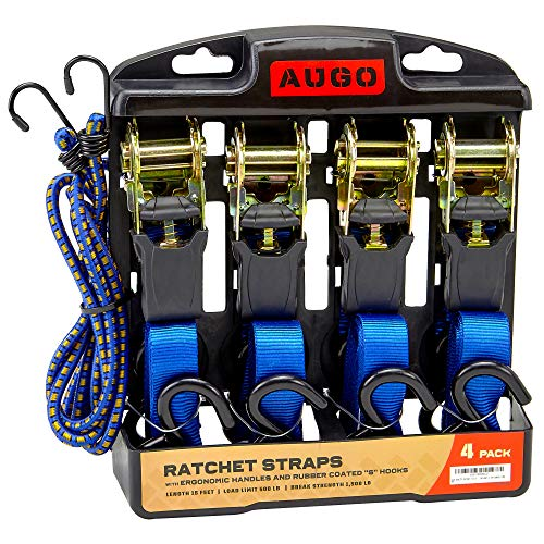 Ratchet Tie Down Straps - 4 Pk - 15 Ft- 500 Lbs Load Cap- 1500 Lb...