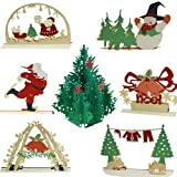 Desem 3D Christmas Cards Handmade Pop Up Holiday Cards, Greeting Postards for Xmas Gift, 7 Pack Merry Christmas Cards set: Christmas Tree, Skiing Santa Claus, Xmas Gift