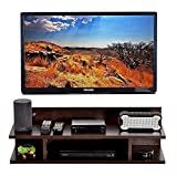 THEWOODMART TV Entertainment Unit Set Top Box Stand Wall Mounted Shelf Racks Wooden tv cabinets for Home Living Room Floating Shelves for Bedroom