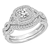 Dazzlingrock Collection 1.00 Carat (ctw) Round White Diamond Swirl Bridal Halo Split Shank Swirl Style Infinity Engagement Ring Set 1 CT, 14K White Gold, Size 7