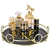 """Zosenley Makeup Organizer Tray, Decorative Glass Vanity Tray for Perfume, Jewelry and Decor, Round Cosmetic Storage for Dresser, Bathroom Counter, Ottoman and Coffee Table, Size 11.4""""D x 2.4""""H"""