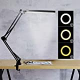 LED Desk Lamp, Swing Arm Lamp with Clamp, 3 Color Modes Eye-Caring Dimmable Architect Table Lamp, Brightness Upgrade and Memory Function Desk Light for Reading, Office, Craft, Studio, Workbench Black
