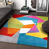 Art Deco Geos Multi Cubes Yellow Orange Blue Modern Abstract Shapes Colorful 5x7 ( 5'3' x 7'3' ) Area Rug Easy Clean Stain Fade Resistant Contemporary Art Boxes Square Geometric Thick Soft Plush
