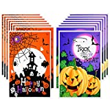 100 Pieces Halloween Plastic Bags Candy Gift Bags Trick or Treat Bags Jack O Lantern Pumpkin Treat Bags for Halloween Party Favor