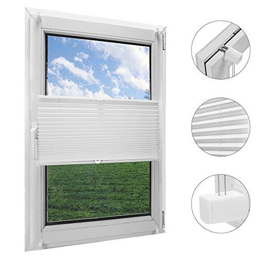 OBdeco Plissee Rollo Klemmfix ohner Bohren Faltrollo für Fenster Blickdicht Sonnenschutz Easyfix Weiß 80x130cm