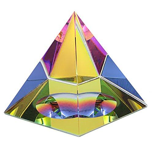 BTSKY - Pirámide cristal iridiscente con caja de regalo, con colores del arco iris, brillo cristal, para casa, oficina, adornos de decoración, 3.15inch