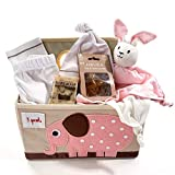 Organic Baby Gift Basket Under $100.00 for Girls - Pink & Tan