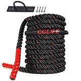 CCLIFE Corde Ondulatoire Battle Rope Corde Musculation Corde de Bataille pour Musculation Exercice Sport diamètre 38mm, Battle Rope Anching Included,Color:15m,Noir et Rouge,avec kit d'ancrage