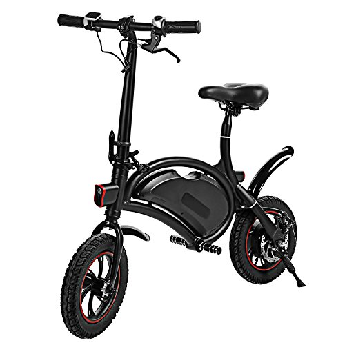 shaofu Folding Electric Bicycle – 350W 36V Waterproof E-Bike with 15 Mile Range, Collapsible Frame, and APP Speed Setting (Black-6Ah)