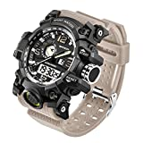 KXAITO Men's Watches Sports Outdoor Waterproof Military Watch Date Multi Function Tactics LED Alarm Stopwatch (Beige)
