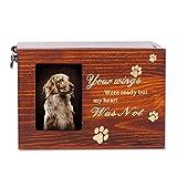Pet Urns Bone Ash Wood Box for Dog or Cat Pet Memorial Keepsake Wooden Lettering Memory Lightweight Box with Photo Frame Memorial Commemorate Funeral
