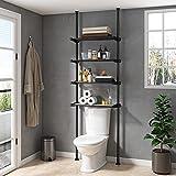 ALLZONE Bathroom Storage Cabinet, Over Toilet Shelf Organizer, 4-Tier Adjustable Shelves, Small, Saver Space, 92 to 116 Inch Height, Black