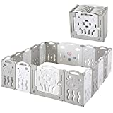 Baby Fence Kid Playpen 18 Panel Albott Play Yard - Foldable Kids Safety Activity Center Playard Safety Lock Gate,Adjustable Shape, Portable Design for Indoor Outdoor Use (Grey+White, 18 Panel)