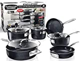 GRANITESTONE Granite Stone Stack Master 10 Piece Cookware Set, Large, Black
