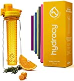 Hydracy Fruit Infuser Water Bottle - 25 Oz Sports Bottle with Full Length Infusion Rod and Insulating Sleeve Combo Set + 27 Fruit Infused Water Recipes eBook Gift - Sunny Yellow