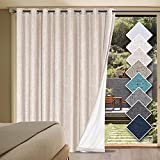 H.VERSAILTEX Linen Blackout Curtains Durable Thick Textured Linen Look 100% Blackout Patio Door Curtain Anti Rust Grommet Extra Wide Sliding Door Curtain Panel, W100 x L84 inch - Natural