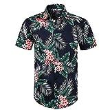 VJGOAL Hombres Camisa con Estampado Floral Hawaiana botón de la Solapa Camiseta de Manga Corta Verano Casual Blusa de Playa Tops(Medium,Verde)