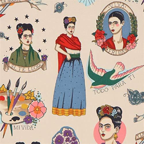 Tela blanco pardo crema Frida Kahlo de Alexander Henry