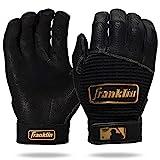 Franklin Sports MLB Batting Gloves - Pro Classic Gold Chrome Baseball + Softball Batting Gloves - Adult + Youth Gloves - Adult Medium - Black/Gold