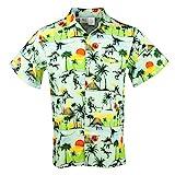 Funny Guy Mugs Mens Dinosaur Hawaiian Print Button Down Short Sleeve Shirt, X-Large