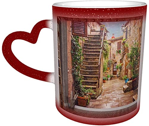 Coffee Mug Vintage Cityscape Alley In Old Town Pitigliano Tuscany Italy Inverted Magic Heat Sensitive Color Changing Mug In The Sky Ceramic Mug Coffee Cup Christmas Birthday Gift