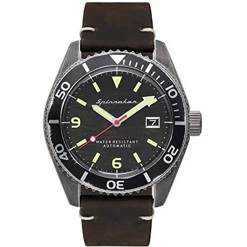 SPINNAKER Wreck Herren-Armbanduhr 43mm Armband Leder Automatik SP-5065-01