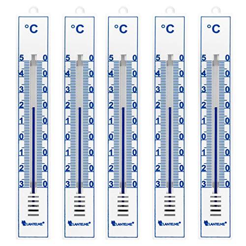Lantelme 5 Stück Thermometer Set Deutsche Herstellung für Innen Außen und Garten analog Gartenthermometer weiß 4086