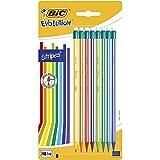 BIC Evolution Stripes avec Gomme Crayons à Papier HB avec Gomme Intégrée...