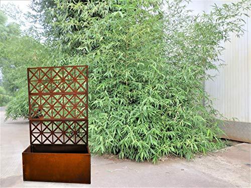 Zen Man Edelrost Rankkasten mit Rankgitter aus Metall Rost Spalier für Kletterpflanzen Rost Garten Blumenkasten mit Rankgitter 032025 L80.5*B35.5*H140.5cm