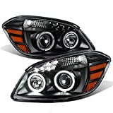 ACANII - For Black 2005-2010 Chevy Cobalt 07-10 Pontiac G5 LED DRL Halo Projector Headlights Driver + Passenger Side