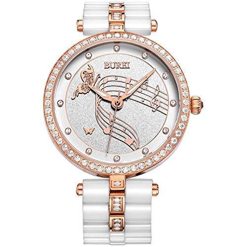 BUREI Damen Quarz Armbanduhr Weiß-Zifferblatt mit Keramik Armband Roségold Diamant Gehäuse Datum Women Watch