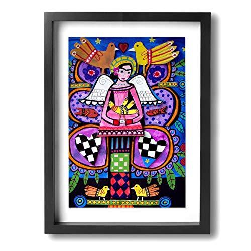 Pintura C Frida Kahlo Mexicana Folk Wall Art Prints On Canvas Framed For Living Room Bedroom Bathroom 12x16inch, Madera, Negro, Talla única