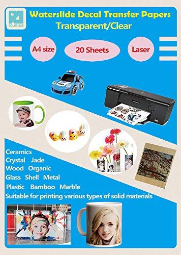 Paquete de 20 hojas de papel para impresora láser, para tra