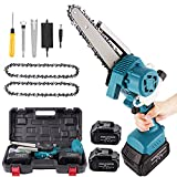 6 Inch Mini Chainsaw,Portable Electric Chainsaw with Brushless Motor and 15000mAh Battery.Cordless Chainsaw Auto Add Oil & Safety Lock for Tree Pruning Branch Wood Cutting(2Pcs Batteries& 2Pcs Chain)